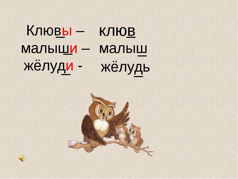 Клювы – малыши – жёлуди - клюв малыш жёлудь