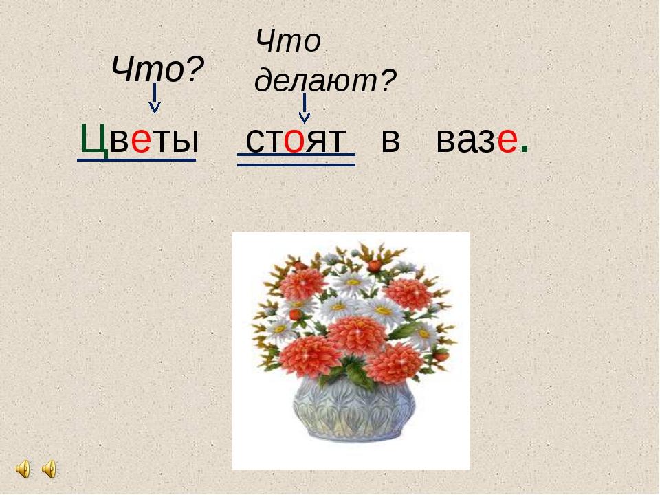 Цветы стоят в вазе. Что? Что делают?
