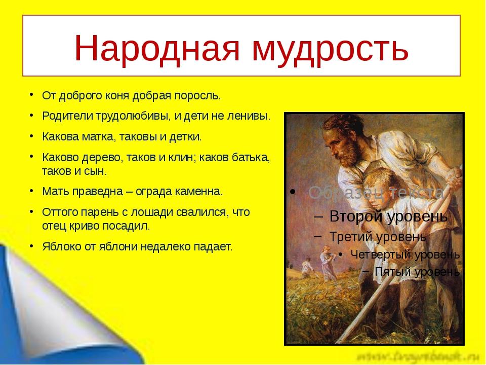 Народная мудрость От доброго коня добрая поросль. Родители трудолюбивы, и дет...