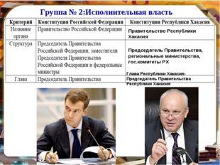 Группа № 2:Исполнительная власть Правительство Республики Хакасия Председател
