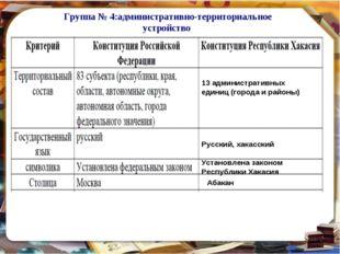 Группа № 4:административно-территориальное устройство 13 административных еди