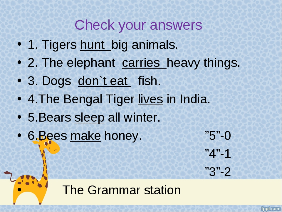 Check your answers 1. Tigers hunt big animals. 2. The elephant carries heavy...