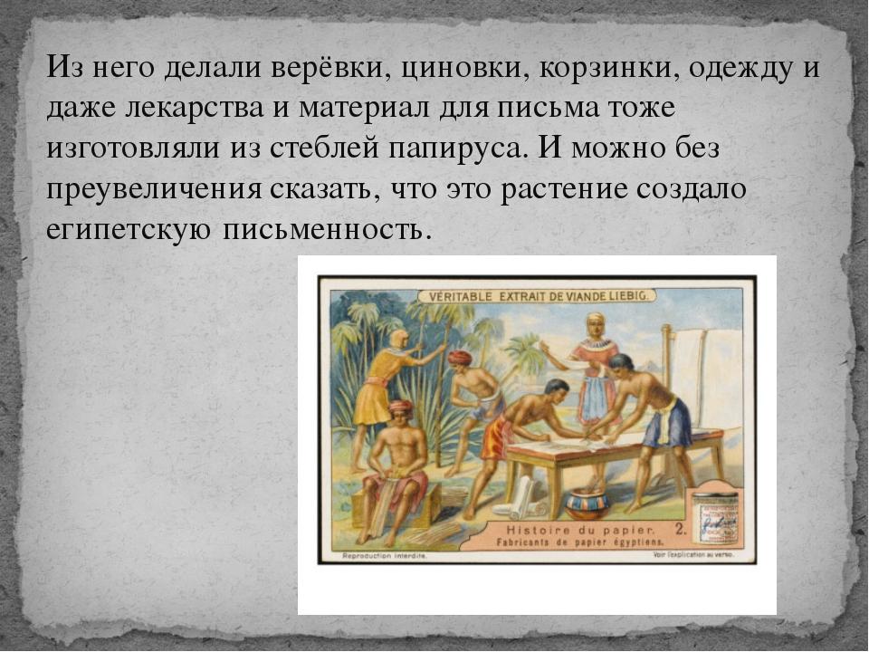 Из него делали верёвки, циновки, корзинки, одежду и даже лекарства и материал...
