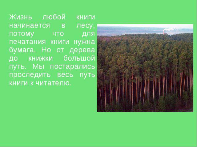 Жизнь любой книги начинается в лесу, потому что для печатания книги нужна бу...