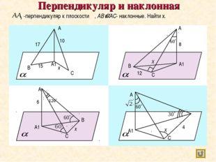 Перпендикуляр и наклонная В -перпендикуляр к плоскости , AB и AC- наклонные.