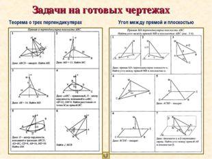 Задачи на готовых чертежах Теорема о трех перпендикулярах Угол между прямой
