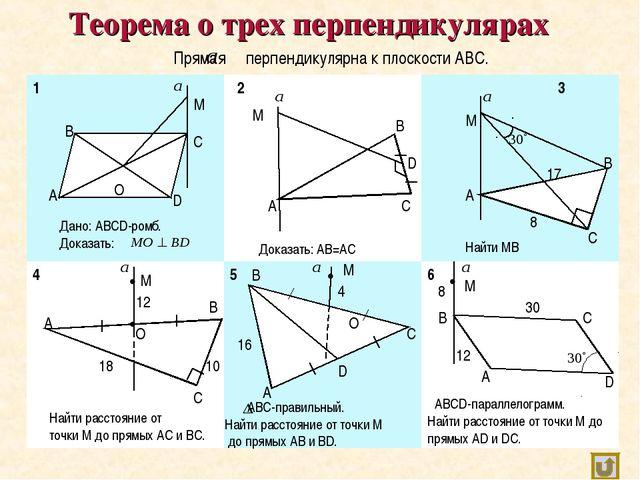 Теорема о трех перпендикулярах Прямая перпендикулярна к плоскости АВС. А В С...