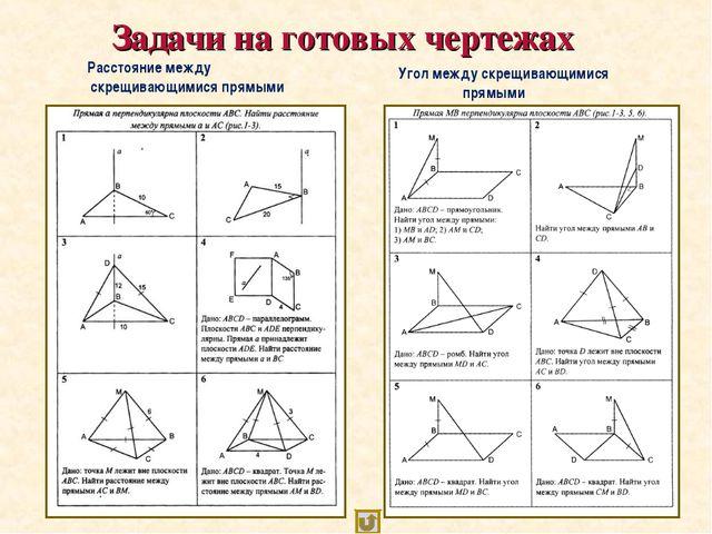 Задачи на готовых чертежах Расстояние между скрещивающимися прямыми Угол меж...