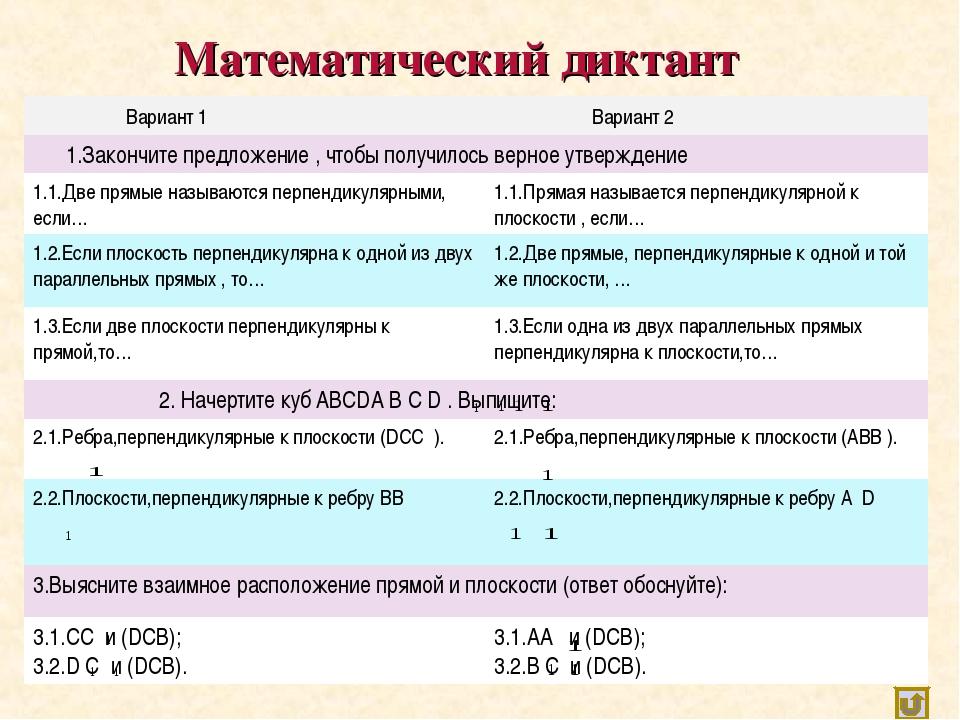 Математический диктант Вариант 1 Вариант 2 1.Закончите предложение , чтобы...
