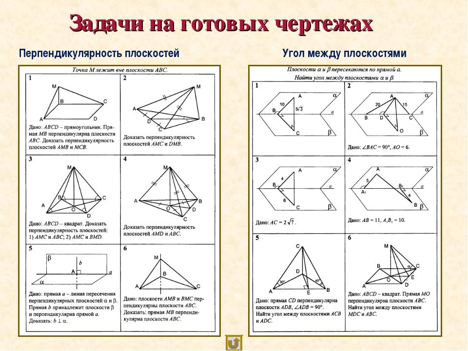 Задачи на готовых чертежах Угол между плоскостями Перпендикулярность плоскос...