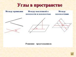 Углы в пространстве Между прямымиМежду наклонной к плоскости и плоскостьюМ