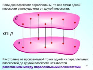 Если две плоскости параллельны, то все точки одной плоскости равноудалены от