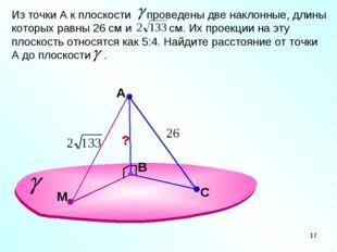 A В Из точки А к плоскости проведены две наклонные, длины которых равны 26 см