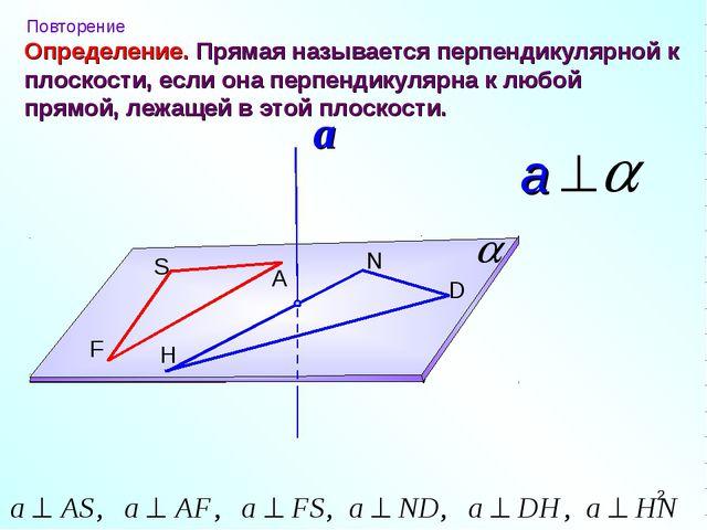 Определение. S A F N D H Прямая называется перпендикулярной к плоскости, если...