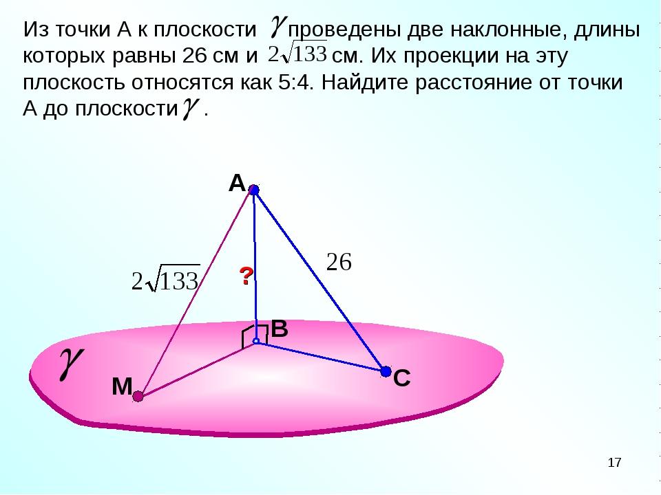 A В Из точки А к плоскости проведены две наклонные, длины которых равны 26 см...
