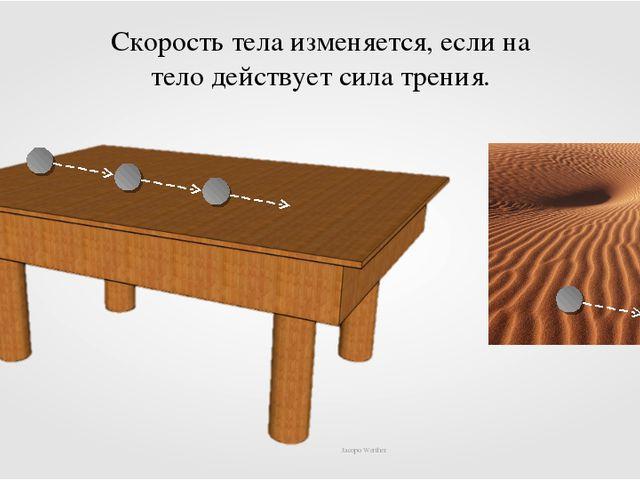 Jacopo Werther Скорость тела изменяется, если на тело действует сила трения....