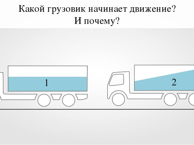 1 2 Какой грузовик начинает движение? И почему?