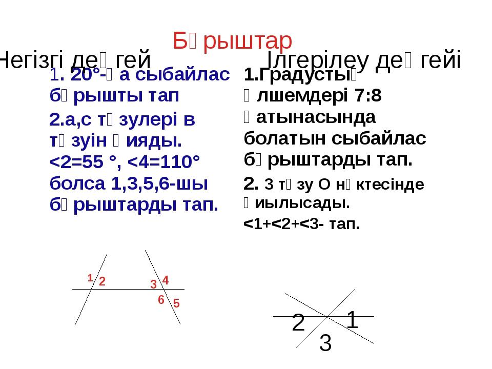 Бұрыштар 1 2 3 4 6 5 1 3 2 Негізгі деңгей Ілгерілеу деңгейі 1. 20°-қа сыбайл...