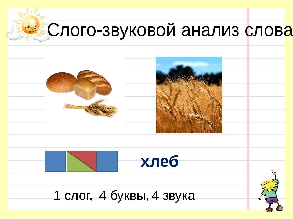 Слого-звуковой анализ слова хлеб 1 слог, 4 буквы, 4 звука