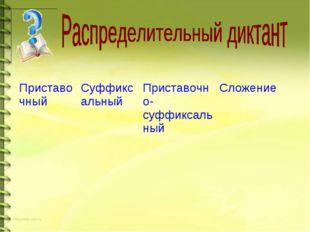 ПриставочныйСуффиксальныйПриставочно-суффиксальныйСложение