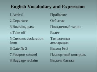 English Vocabulary and Expression 1.Arrival Прибытие 2.Departure Отбытие 3.