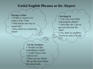 Useful English Phrases at the Airport Buying a ticket I'd like to reserve tw