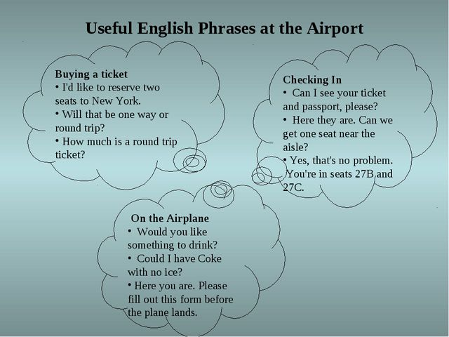 Useful English Phrases at the Airport Buying a ticket I'd like to reserve tw...