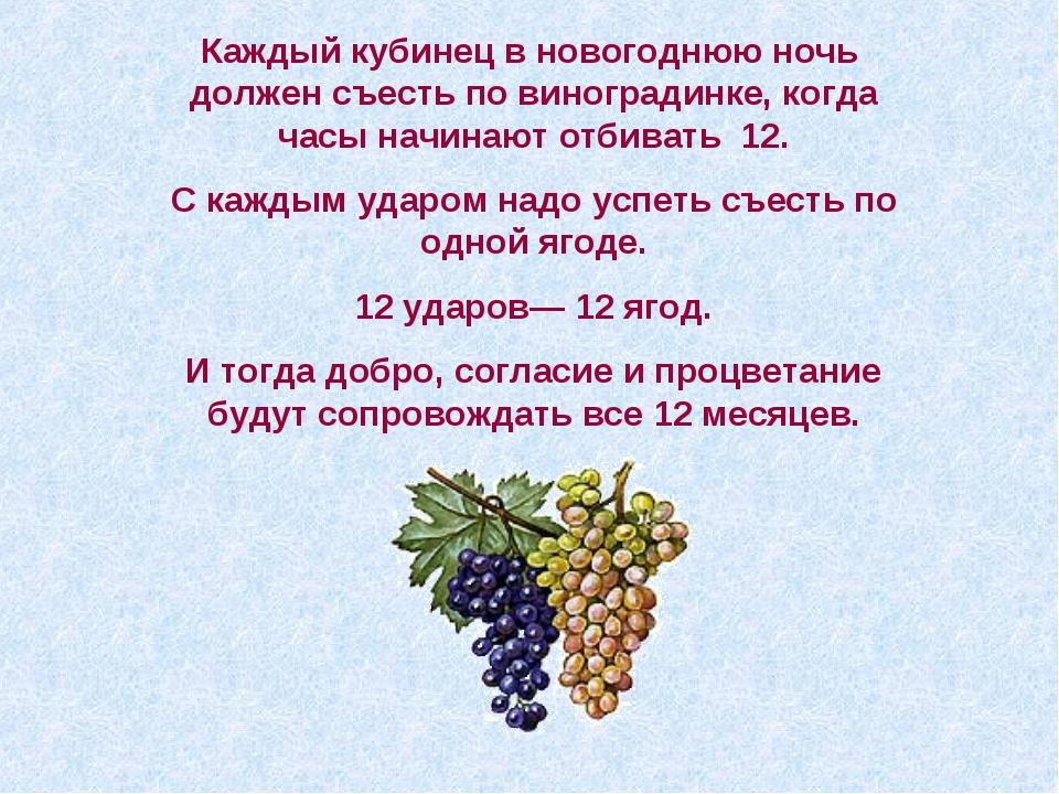 Каждый кубинец в новогоднюю ночь должен съесть по виноградинке, когда часы на...