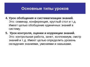 Основные типы уроков 4. Урок обобщения и систематизации знаний. Это: семинар,