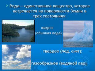 Вода – единственное вещество, которое встречается на поверхности Земли в трёх