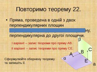 Повторимо теорему 22. Пряма, проведена в одній з двох перпендикулярних площин