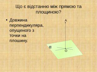 Що є відстанню між прямою та площиною? Довжина перпендикуляра, опущеного з то