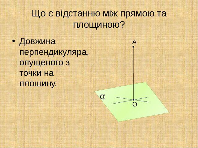 Що є відстанню між прямою та площиною? Довжина перпендикуляра, опущеного з то...