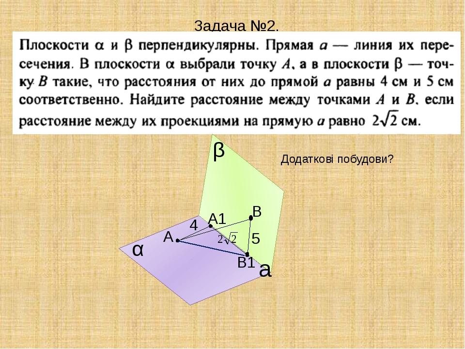 Задача №2. α β A B а 4 5 Додаткові побудови? A1 В1