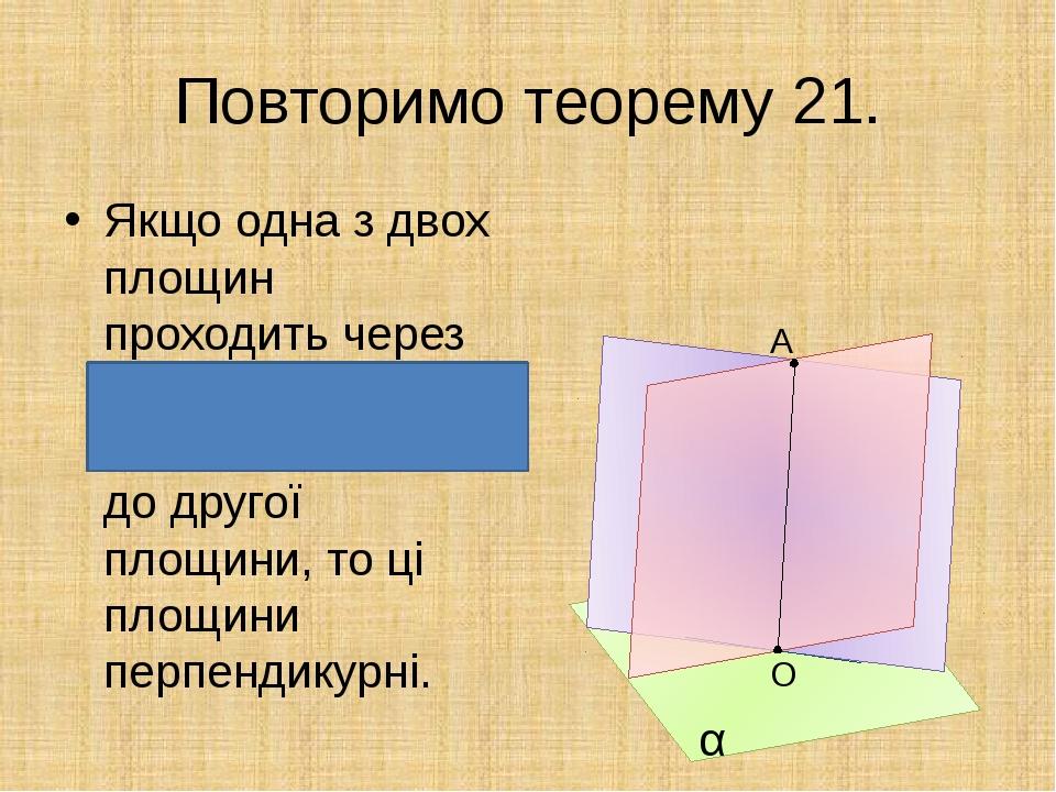 Повторимо теорему 21. Якщо одна з двох площин проходить через пряму, перпенд...