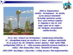 Ол көкке ұмтылған Астананың символына айналды. Н.Ә.Назарбаев жасаған сызба-нұ