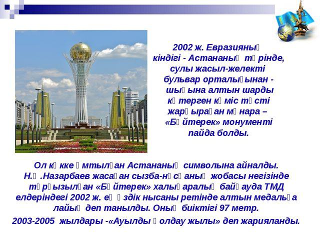 Ол көкке ұмтылған Астананың символына айналды. Н.Ә.Назарбаев жасаған сызба-нұ...