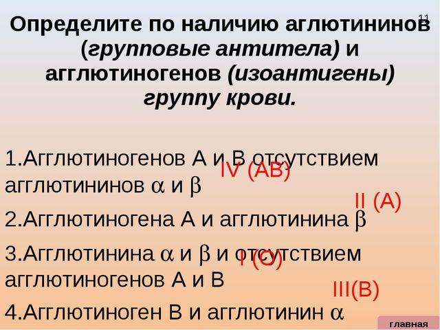 Определите по наличию аглютининов (групповые антитела) и агглютиногенов (изоа...