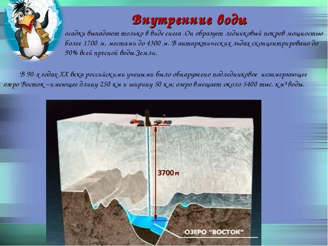 Внутренние воды осадки выпадают только в виде снега .Он образует ледниковый п...
