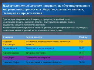Информационный проект:направлен на сбор информации о миграционных процессах