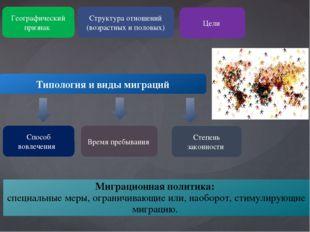 Типология и виды миграций Географический признак Структура отношений (возраст