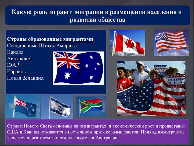 Какую роль играют миграции в размещении населения и развитии общества Страны...