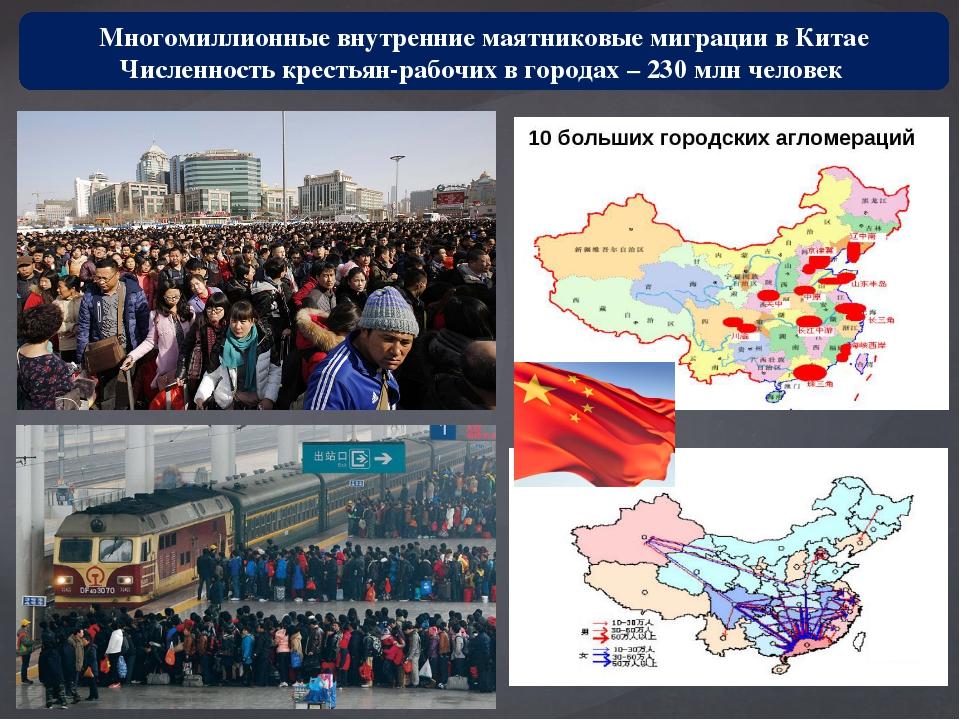 Многомиллионные внутренние маятниковые миграции в Китае Численность крестьян-...