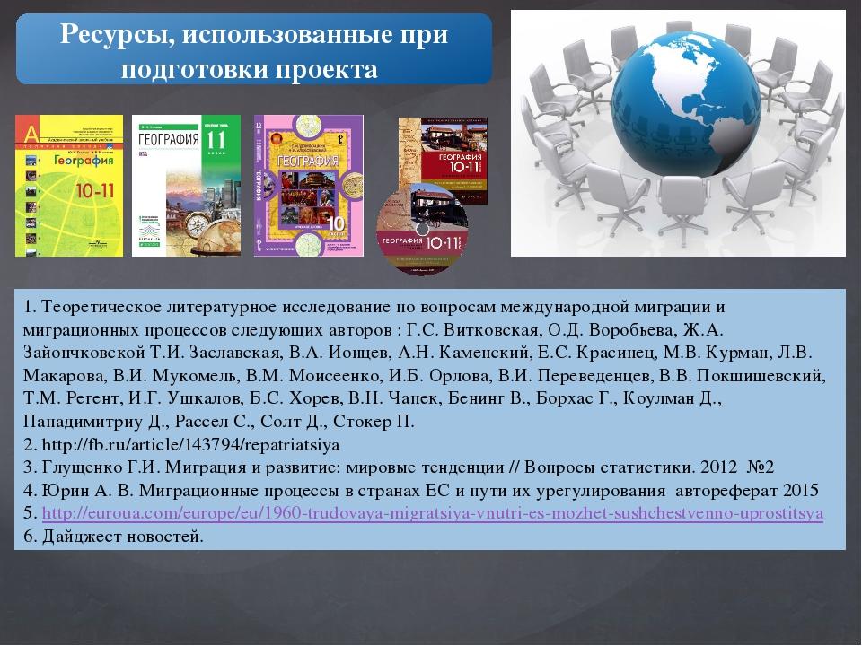 1. Теоретическое литературное исследование по вопросам международной миграции...