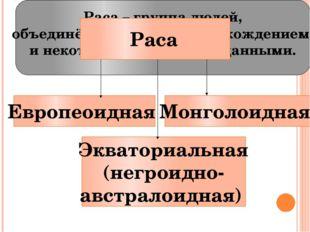 Европеоидная Экваториальная (негроидно- австралоидная) Монголоидная Раса – гр