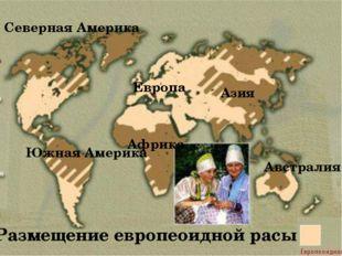 Размещение европеоидной расы Европа Азия Северная Америка Южная Америка Африк