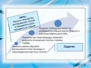 * Цель: Изучить творчество колпашевских поэтов и определить роль пейзажа в их