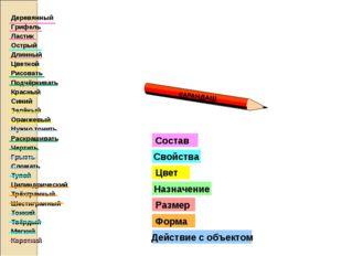 Цвет Назначение Размер Свойства Состав Деревянный Грифель Ластик Острый Длинн