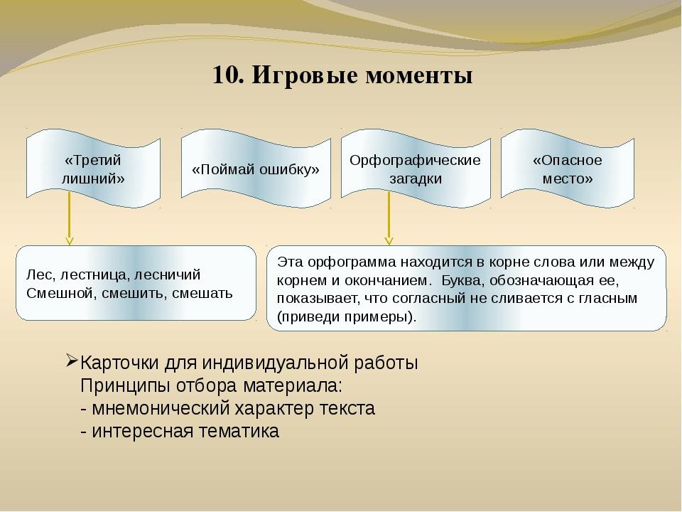 10. Игровые моменты Карточки для индивидуальной работы Принципы отбора матери...