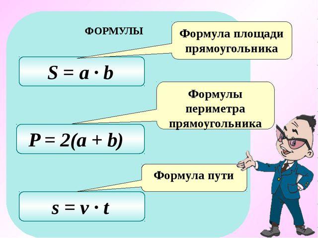 P = 2(a + b) S = a ∙ b s = v ∙ t Формула площади прямоугольника Формулы перим...